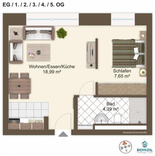 Grundriss -- Hochwertige 1,5-Zimmer-Wohnung in zentraler Lage!