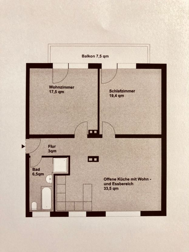 Grundriss Hohe Warte -- 178.200 €, 66 m², 3 Zimmer