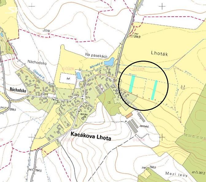 Prodej  zahrady 456m², Kacákova Lhota, okres Jičín