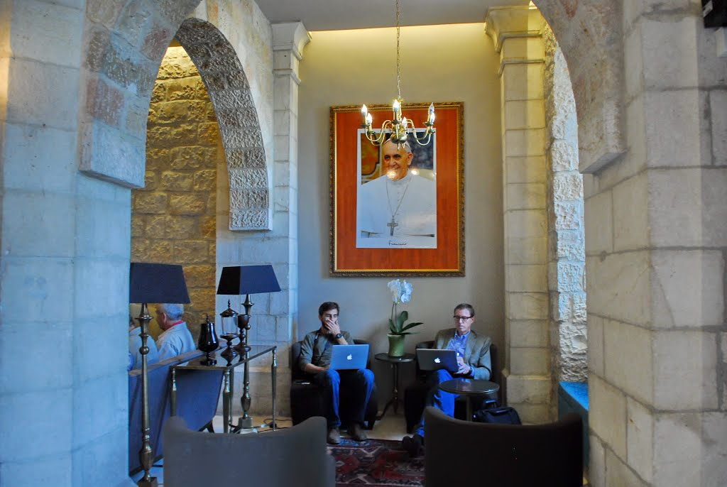 Jerusalem. Notre Dame Center Hotel . Part of the lobby. The pilgrims ....