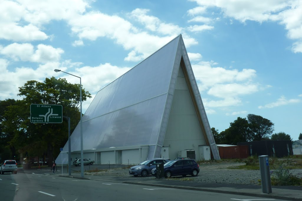 Rear of Transitional Cathedral in Christchurch, New Zealand