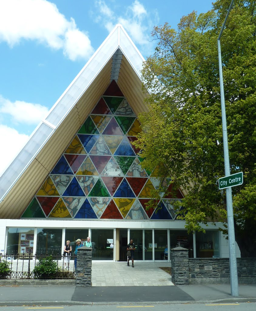 Front of Transitional Cathedral in Christchurch, New Zealand