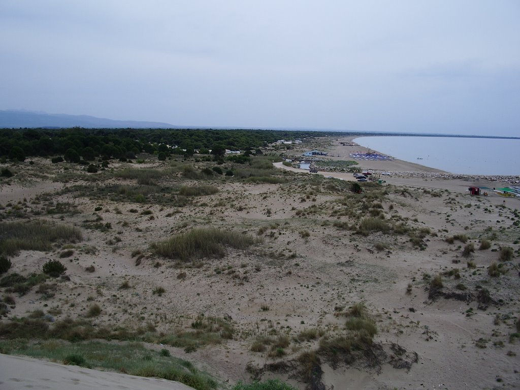 view from the top of the sand dune