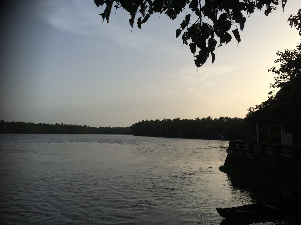 Backwaters of Thrissur - View from Enamavu Regulator , Kanjani , Thrissur - Kerala