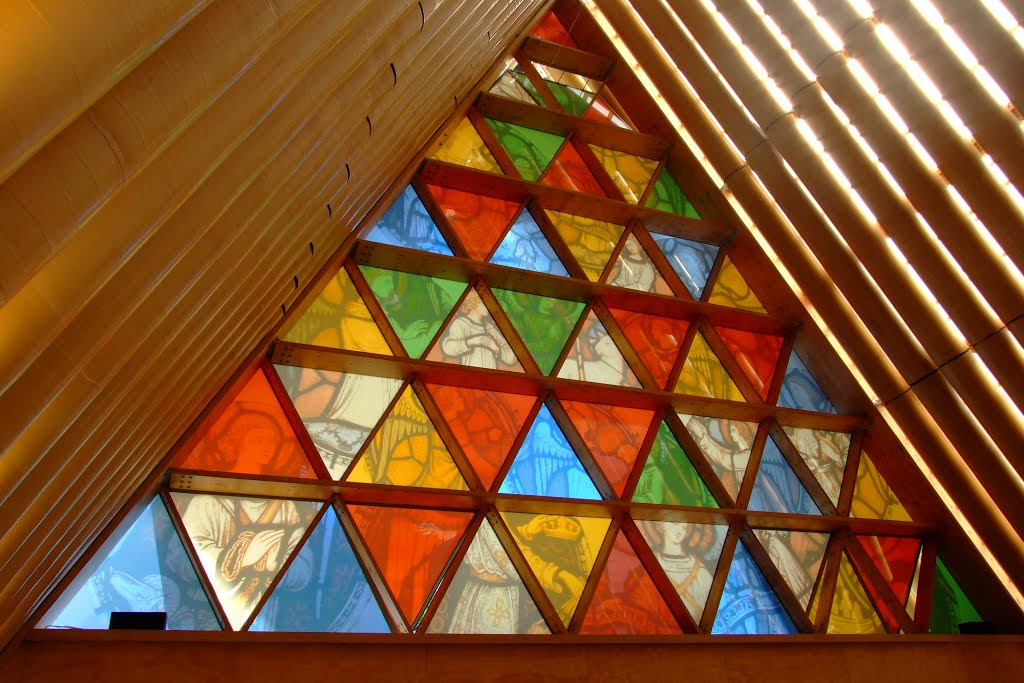 The Transitional (Cardboard) Cathedral, Christchurch, NZ. Trianglular and hexagonal panes.