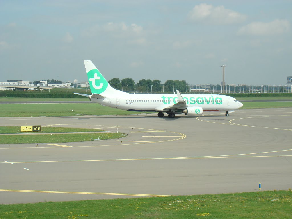 Transavia airplane at Amsterdam Airport Schiphol 20150819-06