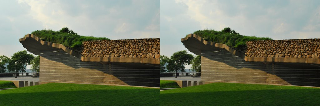 Irish Hunger Memorial in the afternoon sun