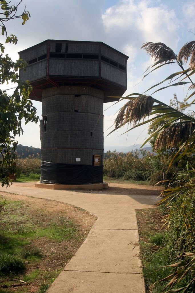 Bird watching tower in Hula Nature Reserve