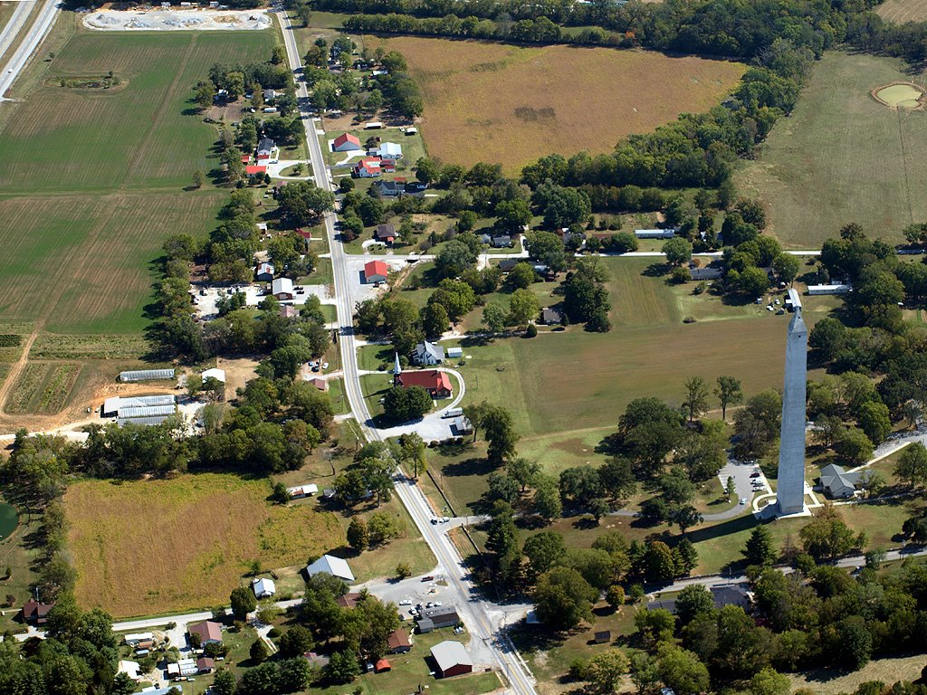 Aerial View of Jefferson Davis Monument & Fairview, KY