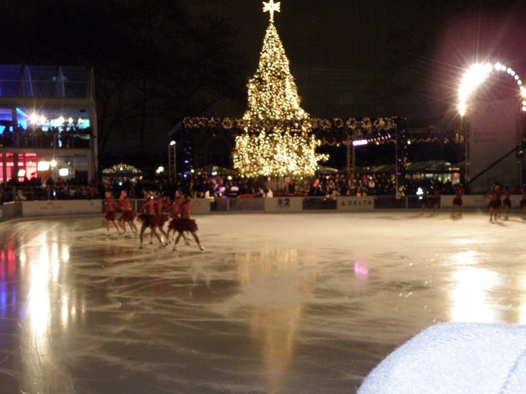 Beautiful  Canadian Ice Skaters  Performing Live On The Ice Floor  At The Lighting Of The Christmas Tree  In Bryant Park  , Manhattan, New York, USA.