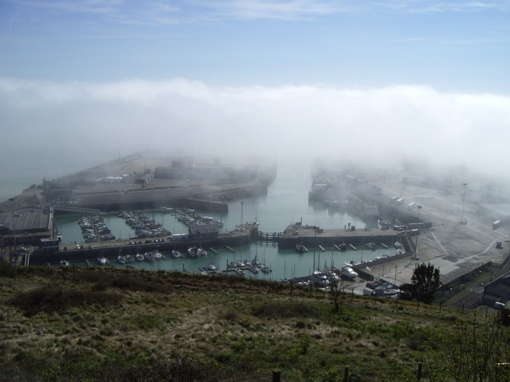 Sea Fog in the Tidal Harbour and Granville Dock of Dover Marina, Kent, UK (2)