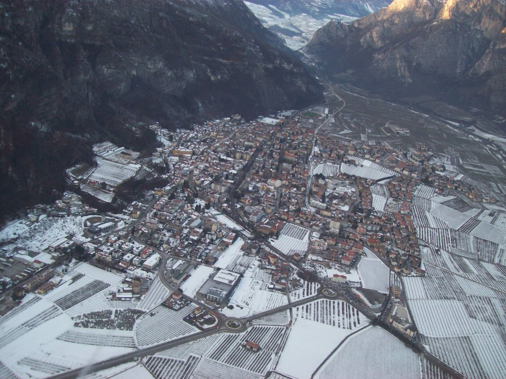 Mezzolombardo from helicopter