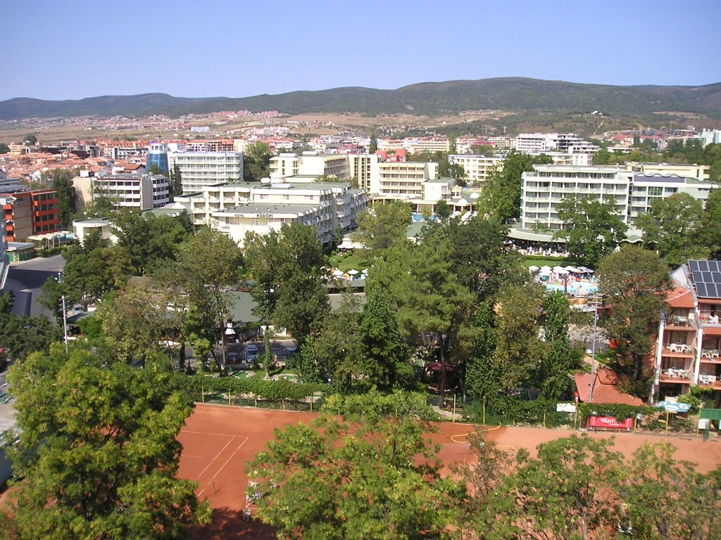 View from Barcelo Royal Beach hotel and apartments, Sunny Beach, Bulgaria