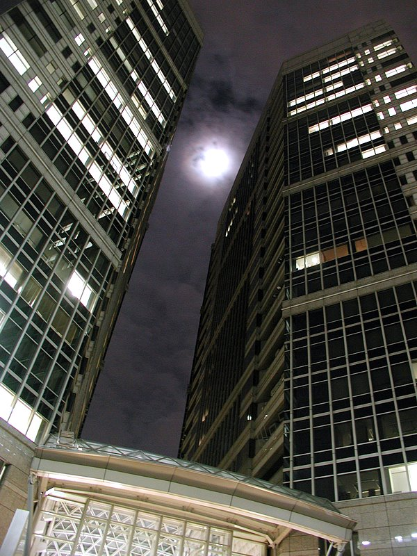 OTEMACHI 1st SQUARE with cloudy moon