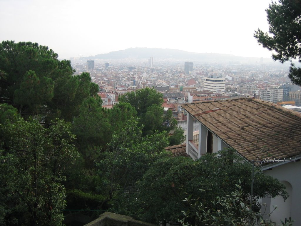 Looking out from steps to Parc Guell, Barthelona