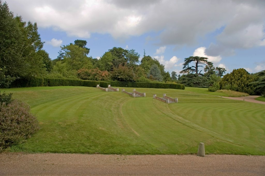 Tiered lawn at Goodnestone Park, Kent