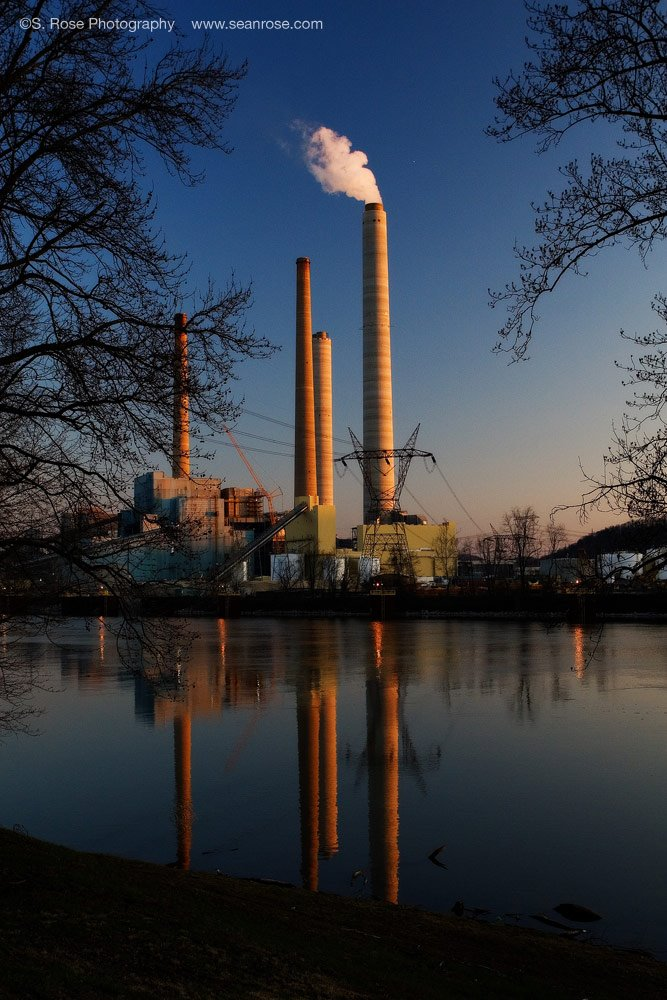After Sunset Industry Shot On Kanawha River