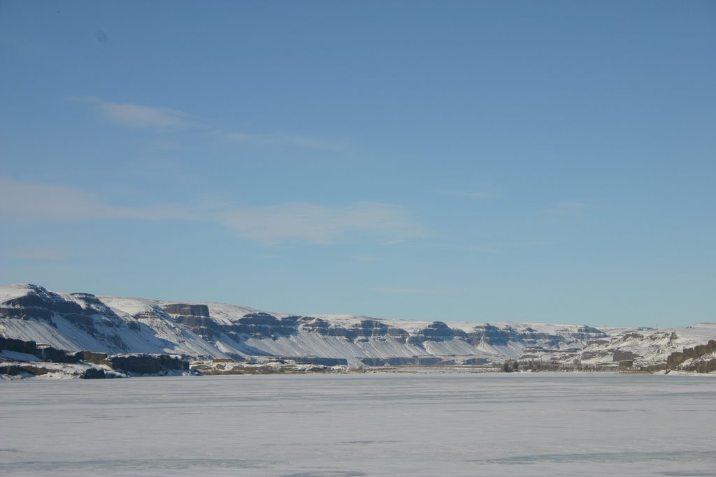 Lower Grand Coulee across frozen Soap Lake