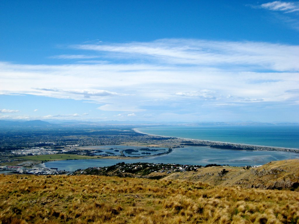 view over Southshore from the Port Hills