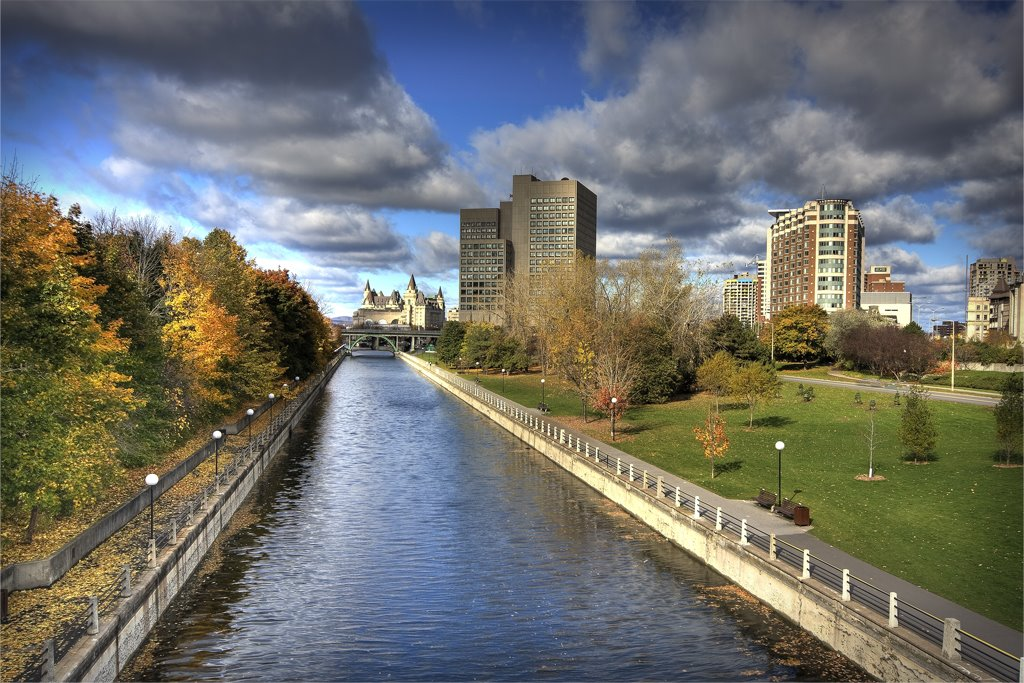 View from Corktown bridge on Ottawa downtown at October