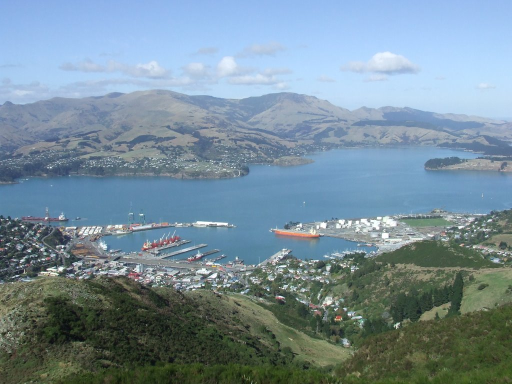 Looking down at Lyttleton Harbour from the Gondola