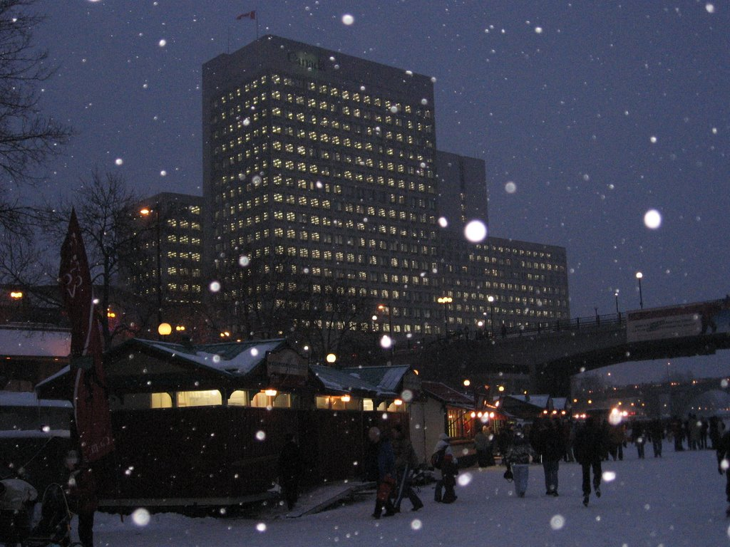 Ottawa - Canada building [View from Rideau Canal with snow fall]