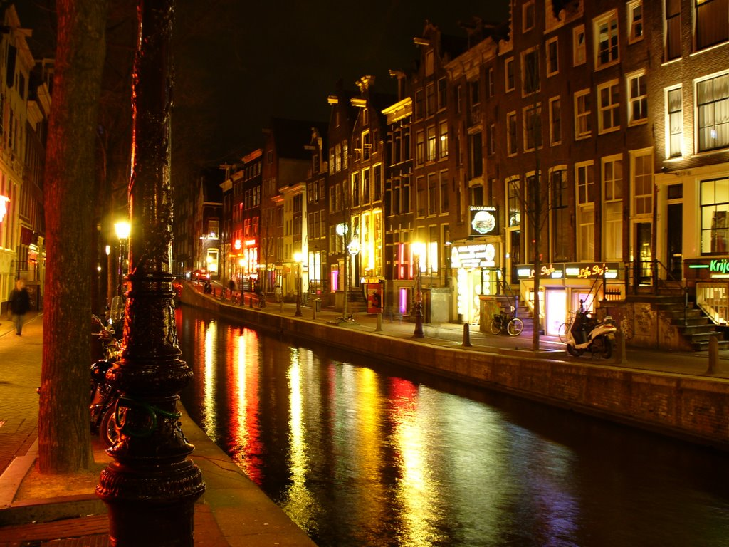 Romantic Amsterdam canal by night