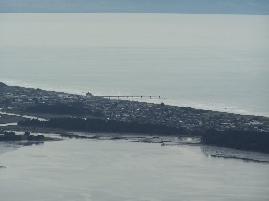 New Brighton Pier from the Port hills.