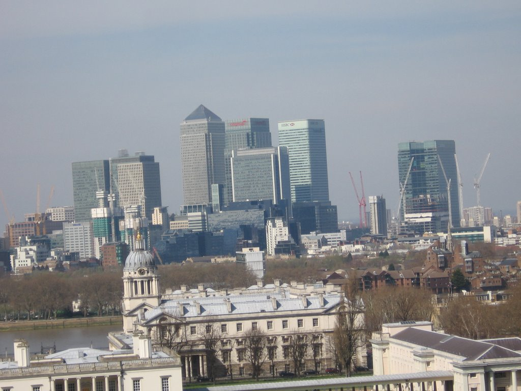 London Canary Wharf view from Greenwich