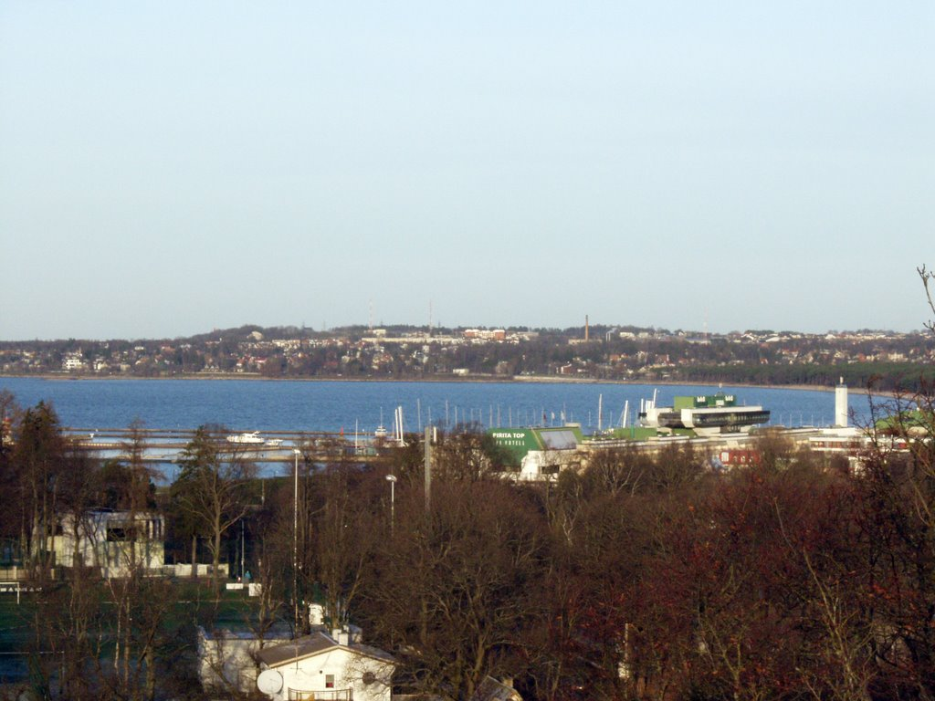 Tallinna bay.Olympic jachts harbour.View from Lasnamae hill.