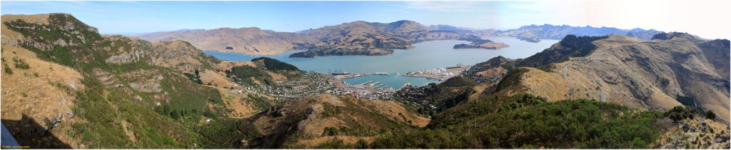 Lyttelton Harbour, 180DEG Panoramic view from Christchurch Gondola,