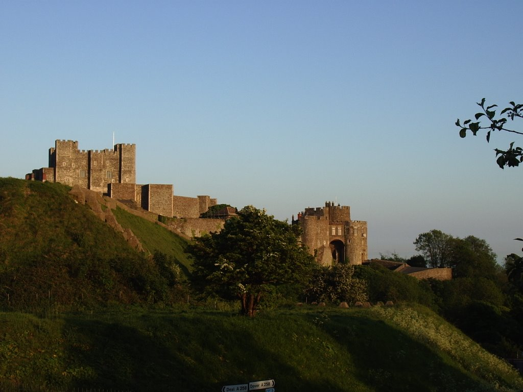 Dover Castle Keep and Constable's Tower, Western Outer Curtain Wall, Kent, UK