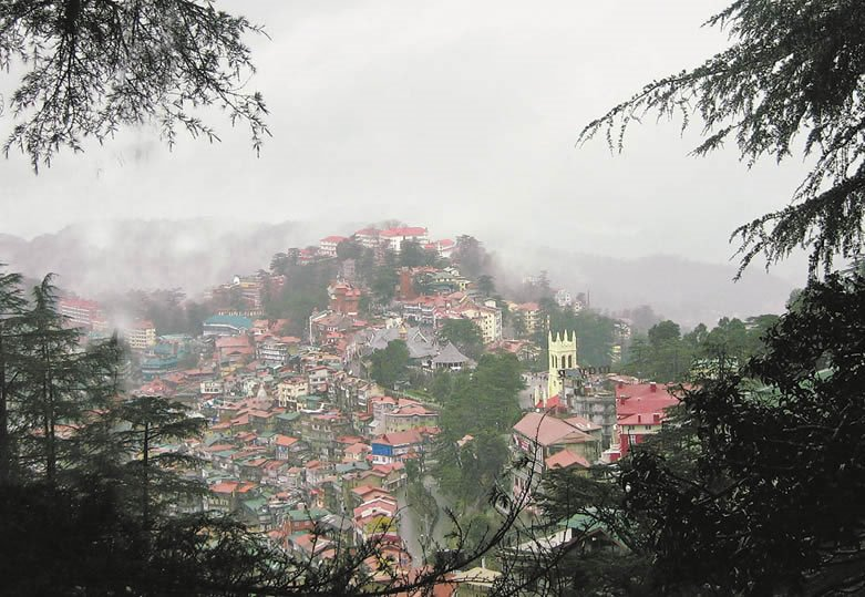View of british shimla. Mall Road to lower bazar
