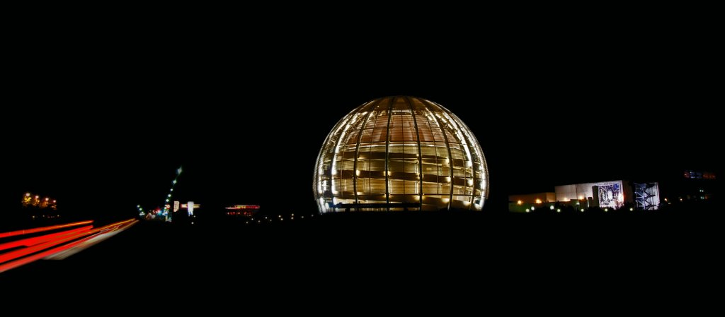 Cern globe at night
