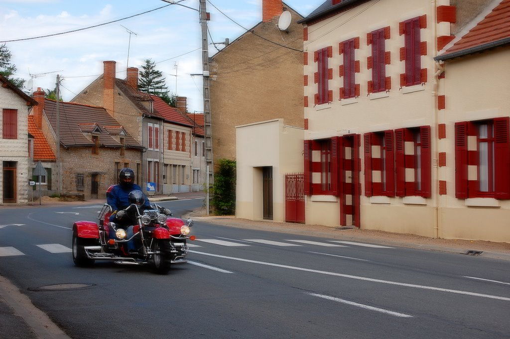 A trike passing through Meaulne, France