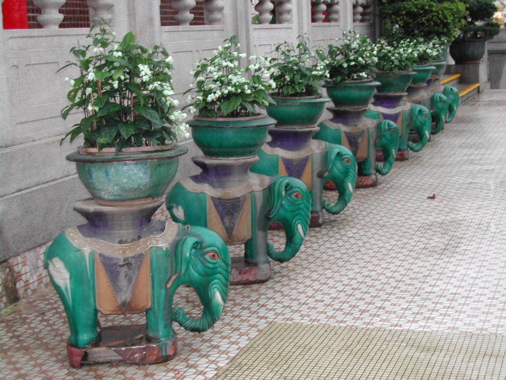 A row of flower on porcelain elephants