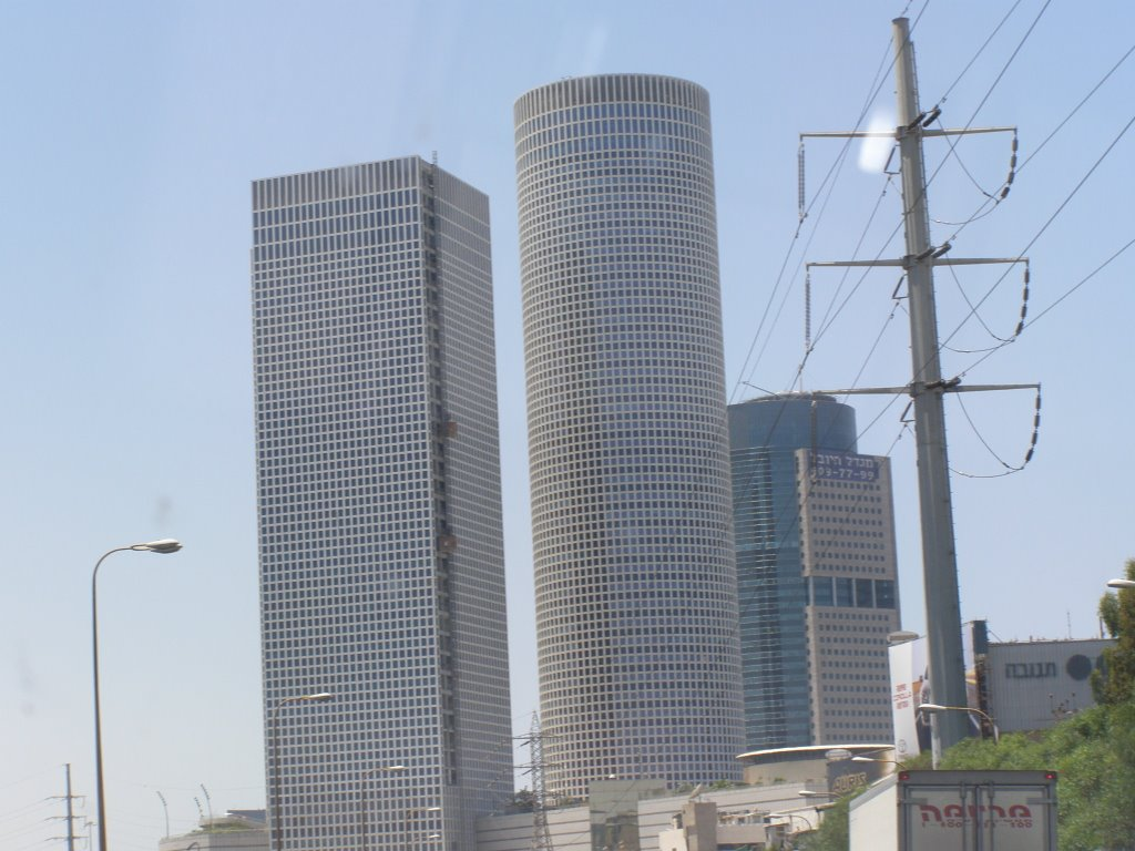 Azrieli Circular And Sqaure Towers From Ayalon Highway - 25.6.07