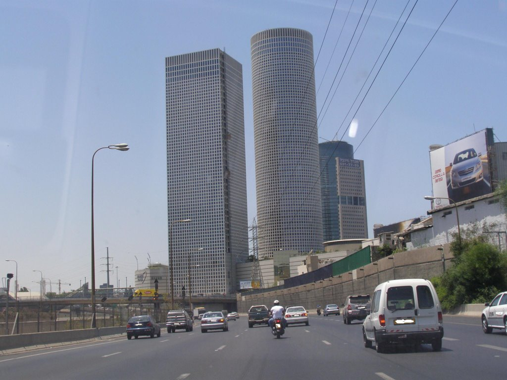 Tel-Aviv - Azrieli Circular And Square Towers From Ayalon Highway - 25.6.07