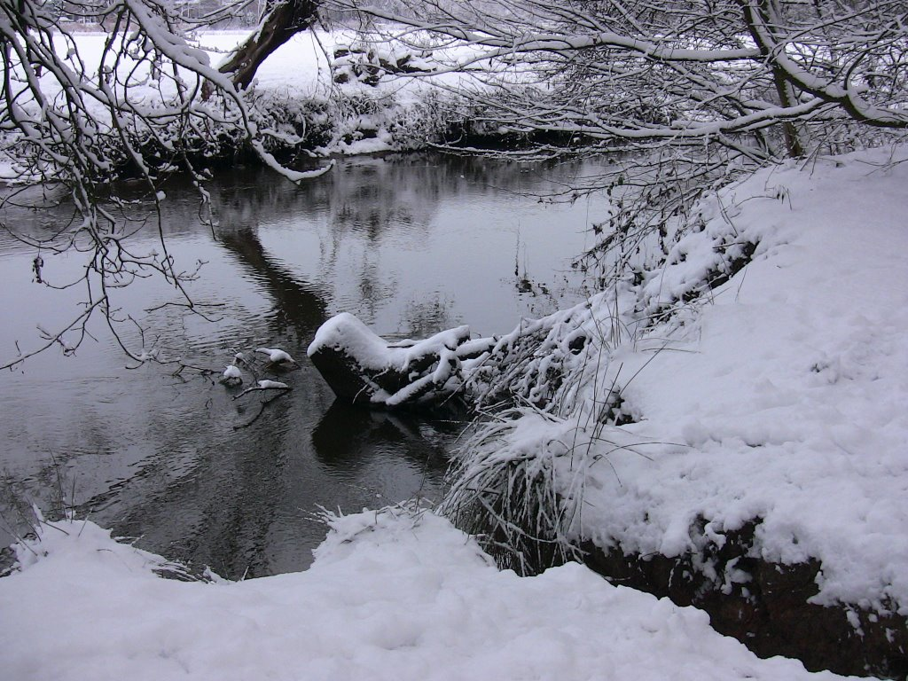 Winter landscape with river the Dommel