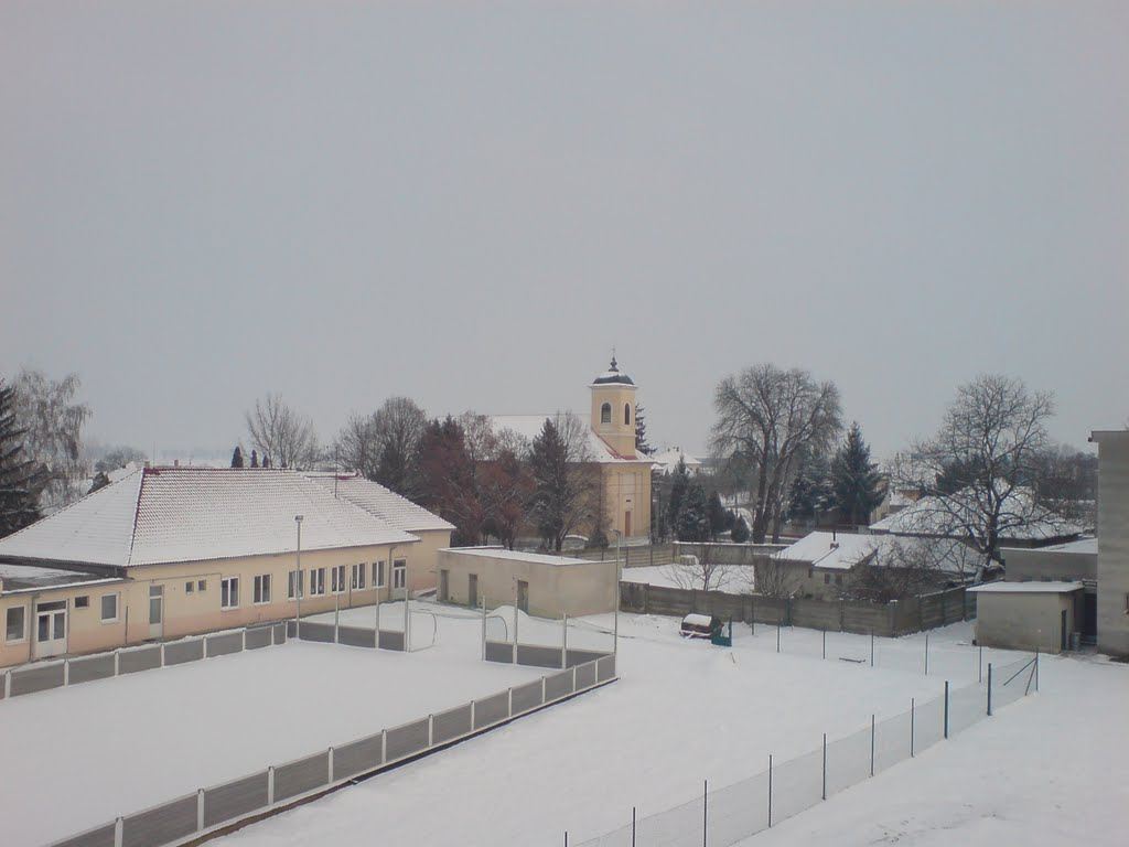 View of church and school