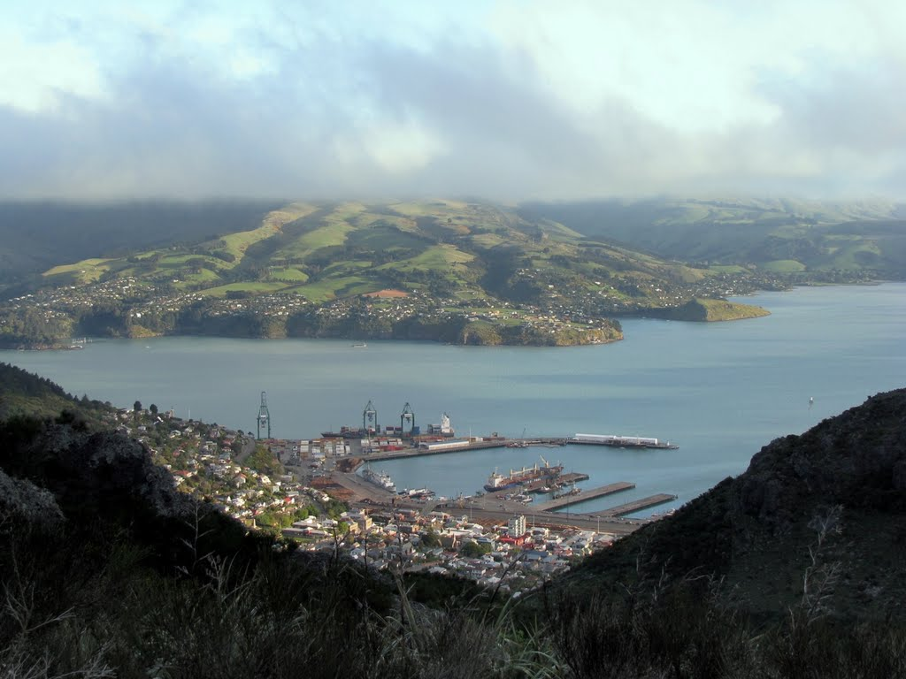 View of Wharves and Harbour, Lyttelton, New Zealand