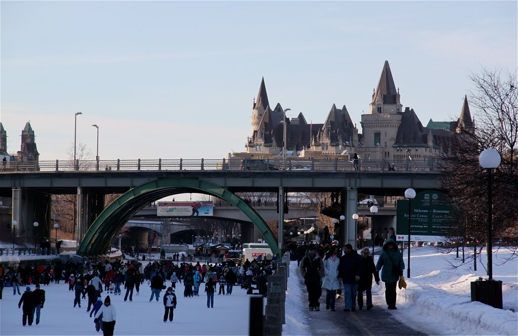 Skating on the Canal towards Château Laurier