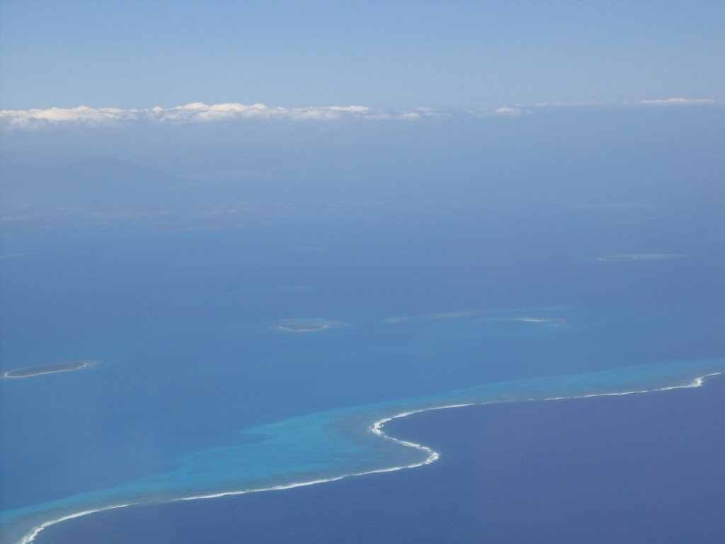Coral reef fringe approaching New Caledonia