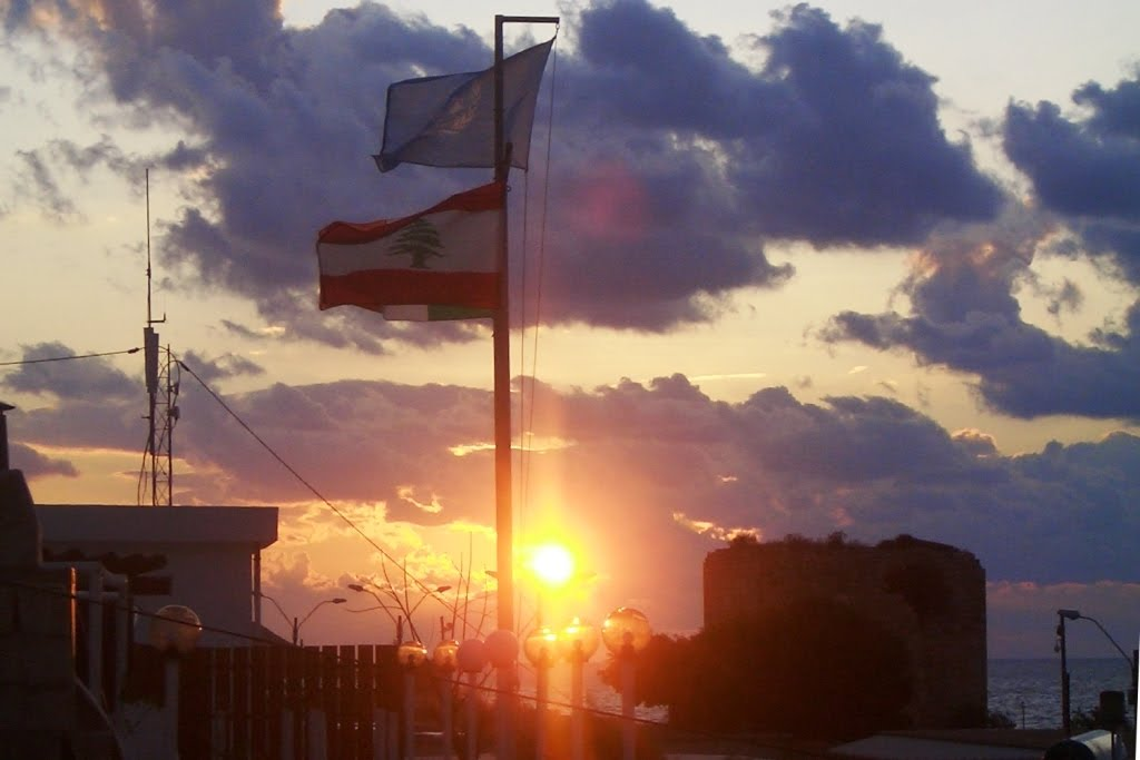 Sunset and flags at UNIFIL HQ, Naqoura 2009