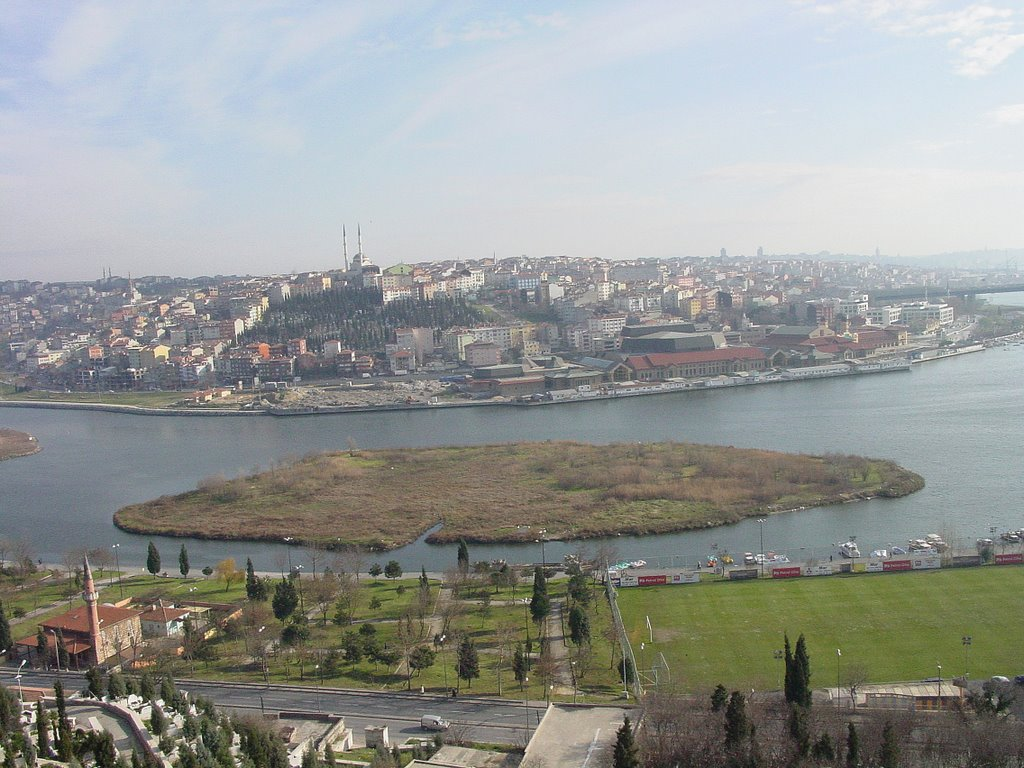 Isle in Golden Horn, Istanbul, seen from Pierre Loti's cafe in Eyup