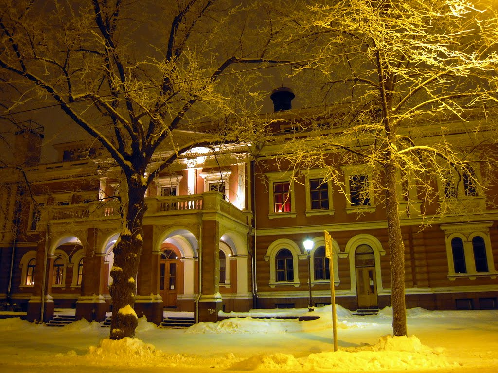 Snowy trees and Alexander Theatre