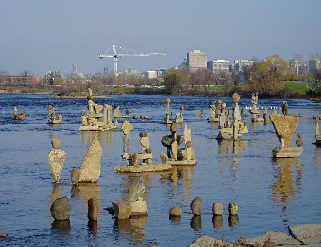 Stone sculptures in the Ottawa River