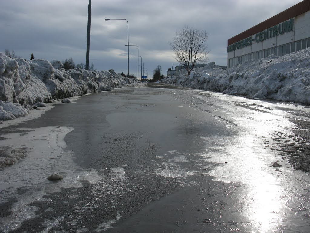 Frozen bicycle path in april