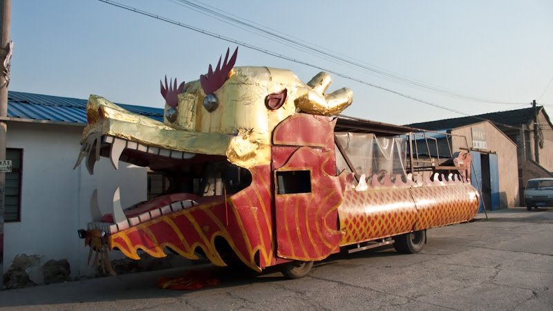Dragon float truck parked at the alley off Jiyang Lu highway -- and showing on Google satellite view.