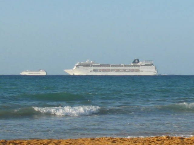 Cruise Liner leaving Malta